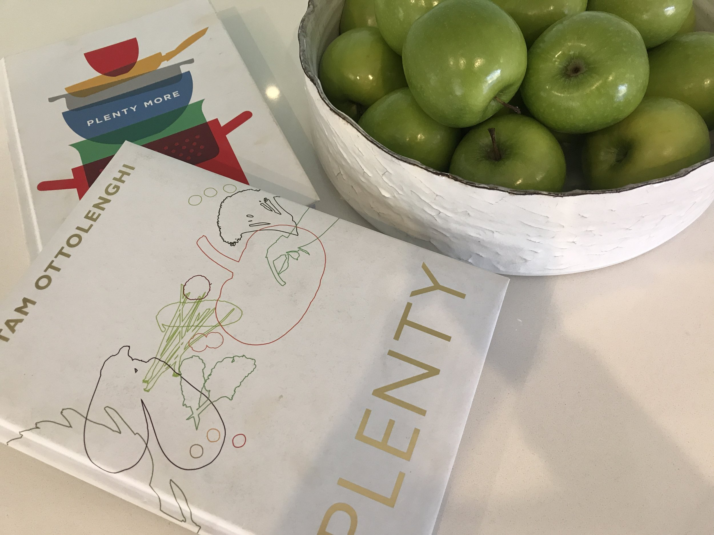 Two of my favorite vegetarian cookbooks, as you can see well used, Plenty and Plenty More by Yotam Ottolenghi. Vegetarian meals that are so full of flavour, you won't miss meat.