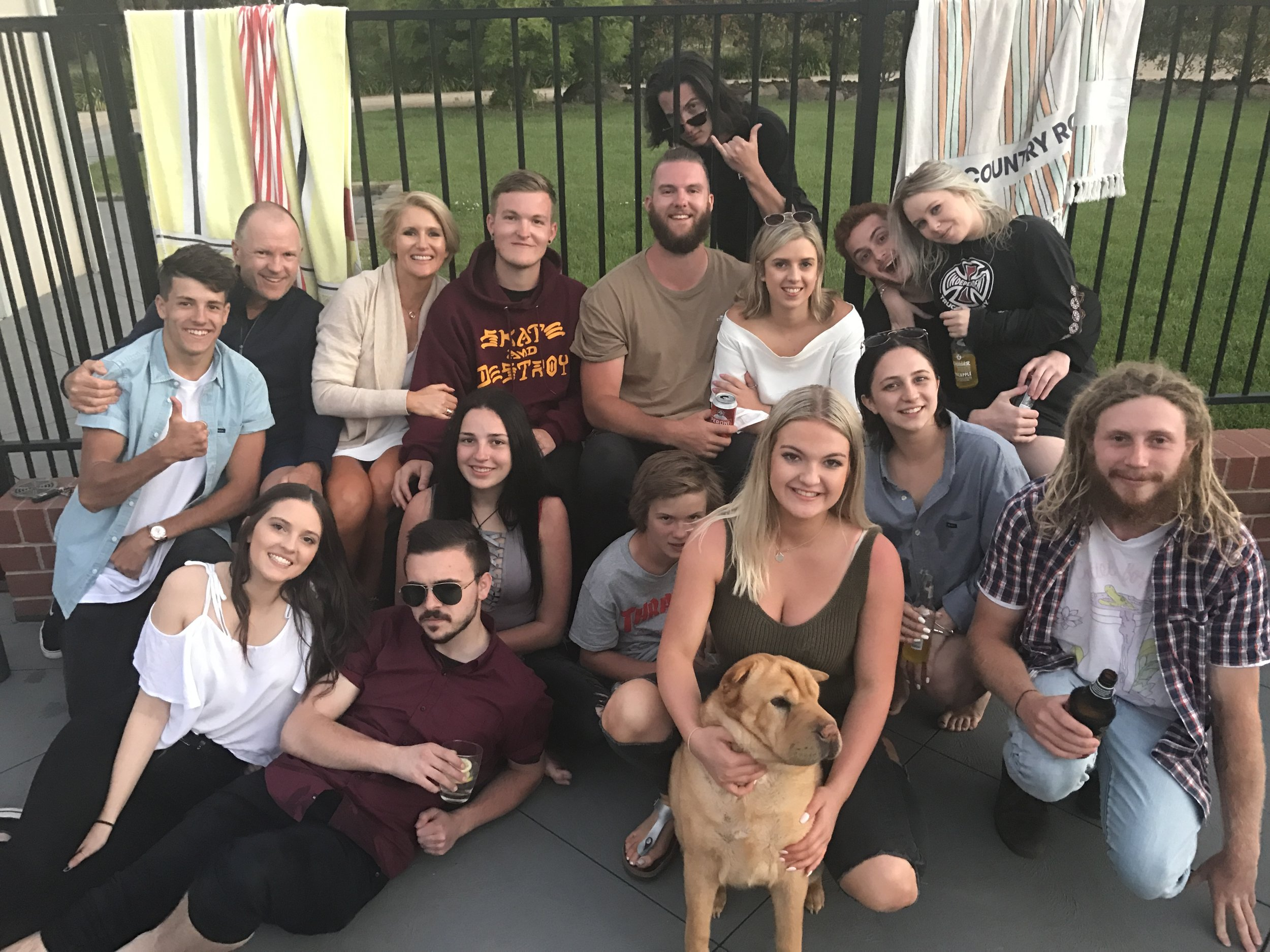 Our extended family with Josh's mates.