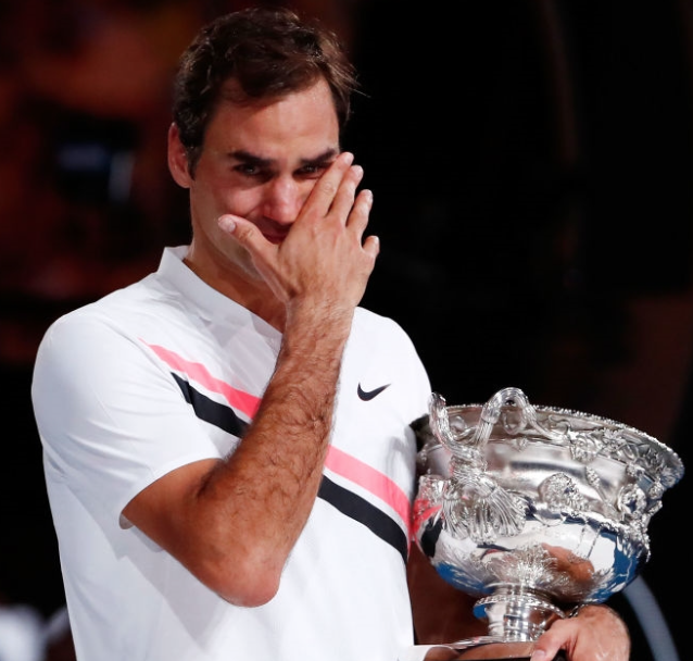 Roger is overwhelmed after winning the 2018 Australian Open. Such a humble man.   Image