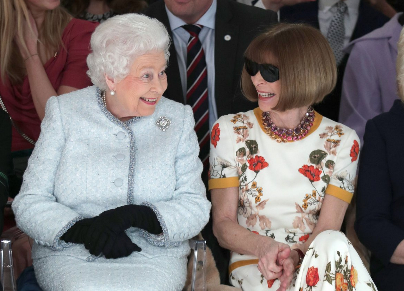 """This is the CUTEST BEST photo of The Queen ever. But Anna Wintour needs to remove her sunglasses. So rude.""    #LFW   Photo by Tristan Fewings/BFC/Getty Images"