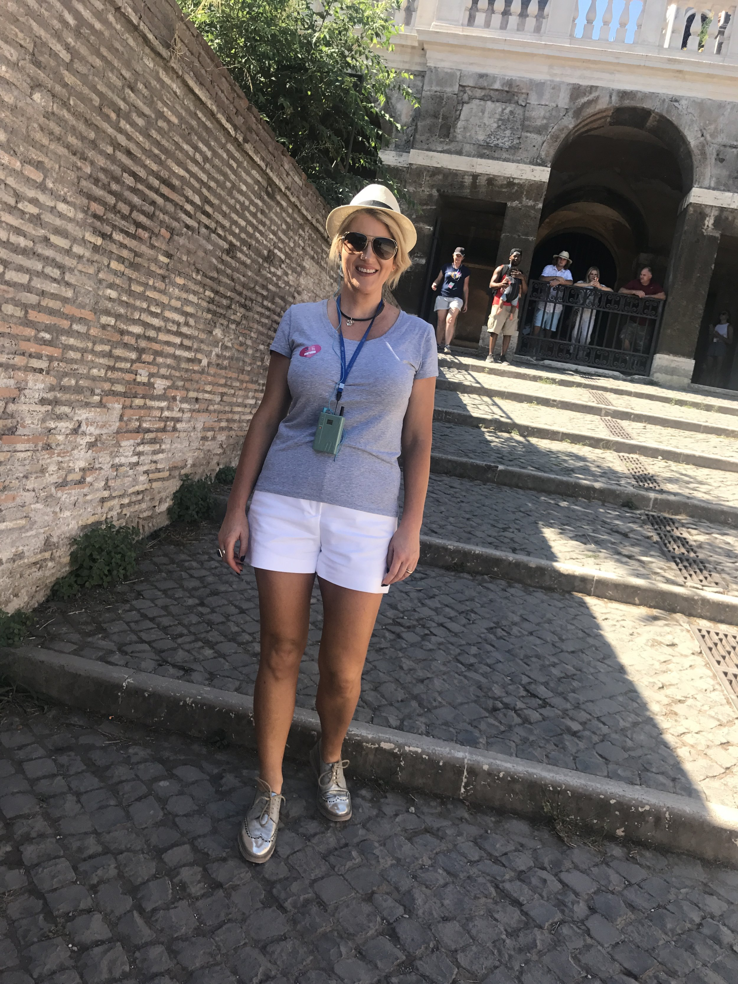 More of the same with shorts and tee with my Mollini shoes.   We purchased our hats in Venice and they travelled everywhere with us.  Fabulous as I couldn't use my hairdryer!!!