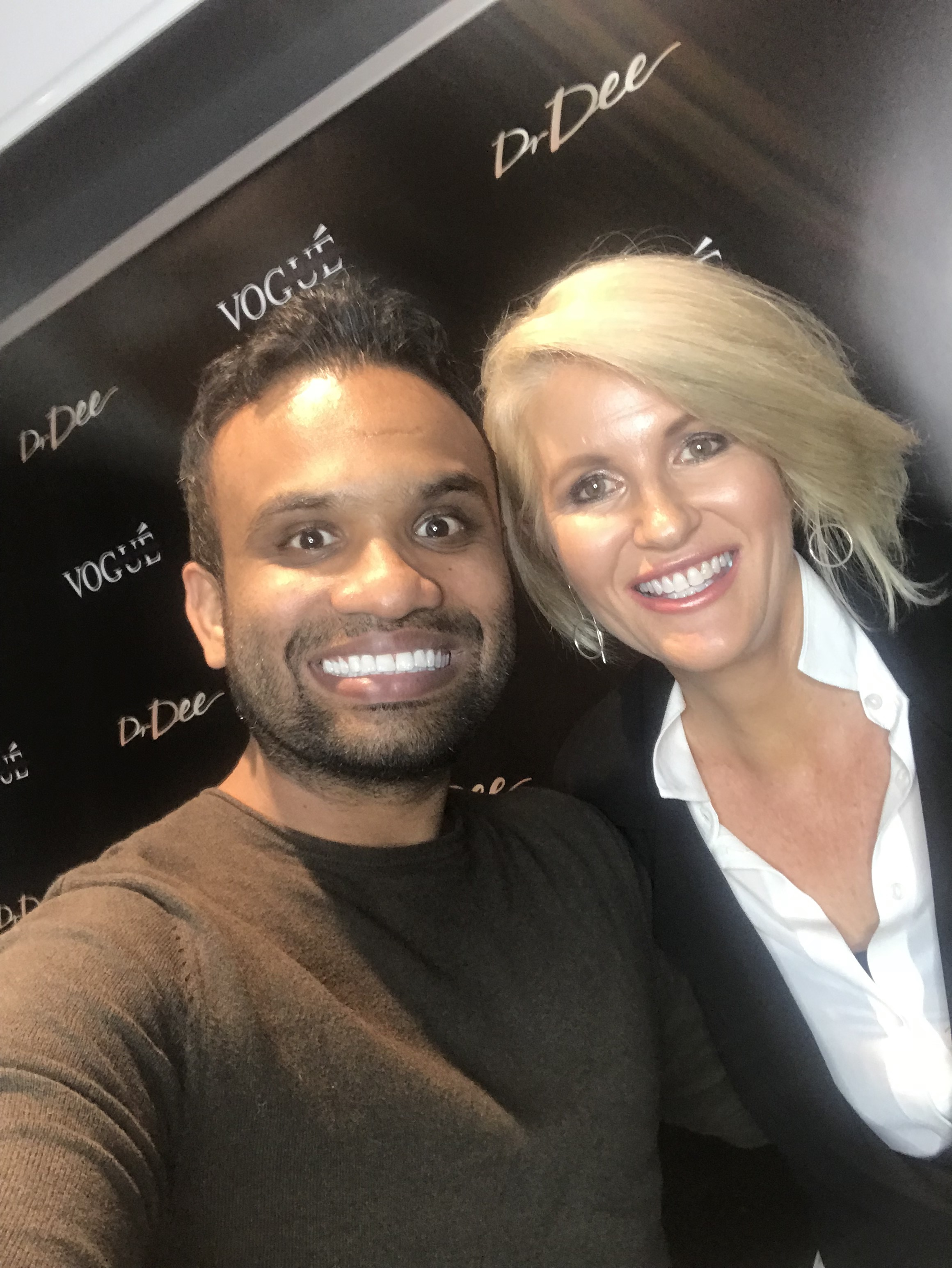 "Here I am with the fabulous ""Dr Dee"" from  Vogue Dental Studios . You will read about the charity work they do for many and see my new teeth in 2019."