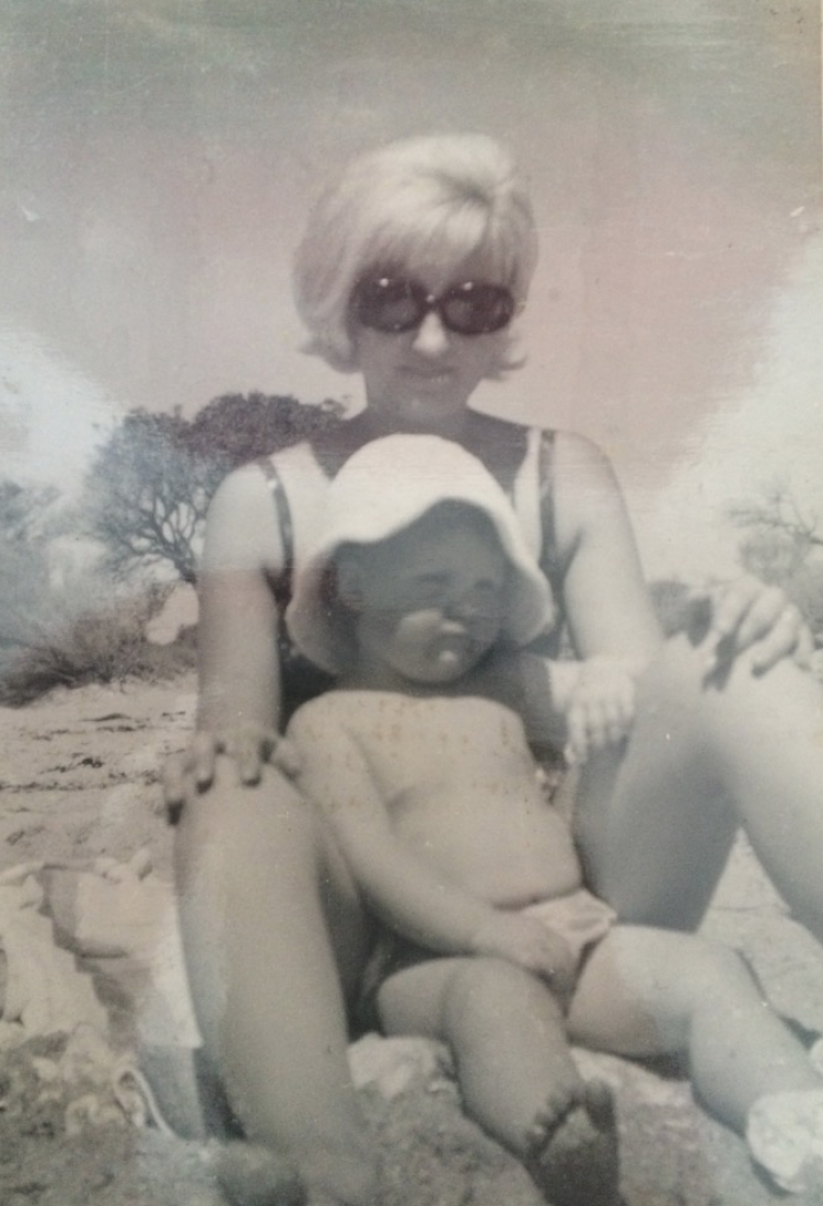 My glamorous Mum Rae and I at the beach in the 1960's.