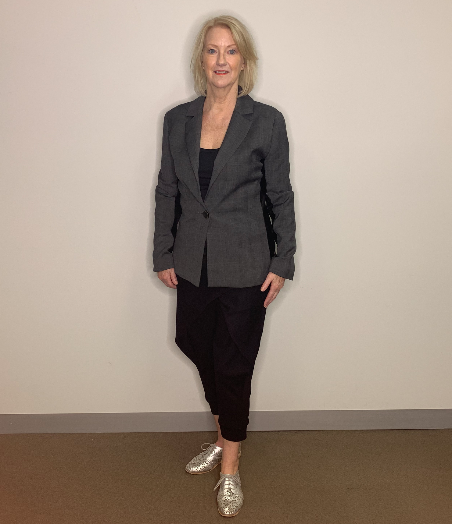 Beautiful Margaret loved to style her pants with a blazer and comfy shoes.