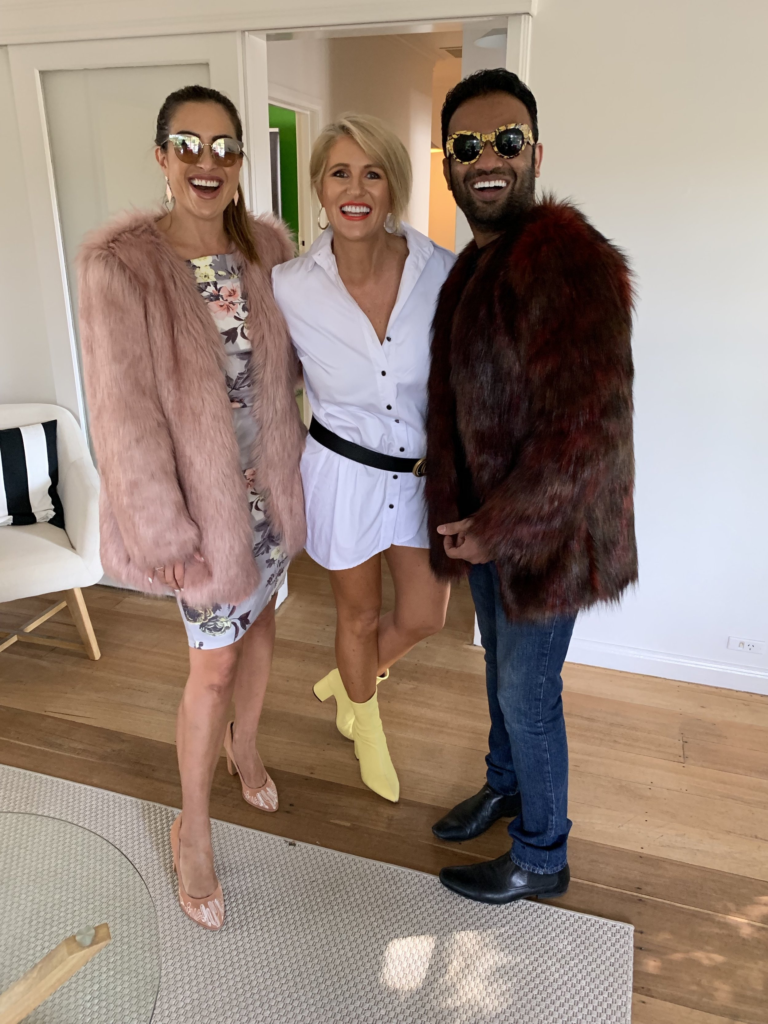 With gorgeous Nadia Stamp and Dr Dee playing around with my sunglasses and faux fur coats at Vogue Dental Studios.