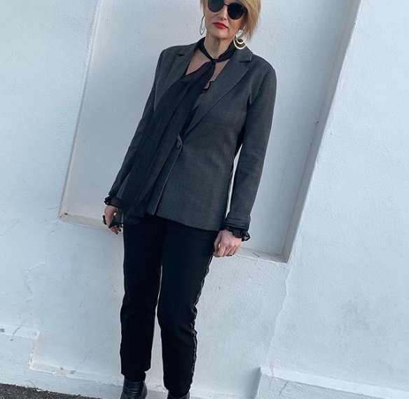 Cazinc The Label's grey blazer and cigarette pants. Both perfect for flights and your holiday.