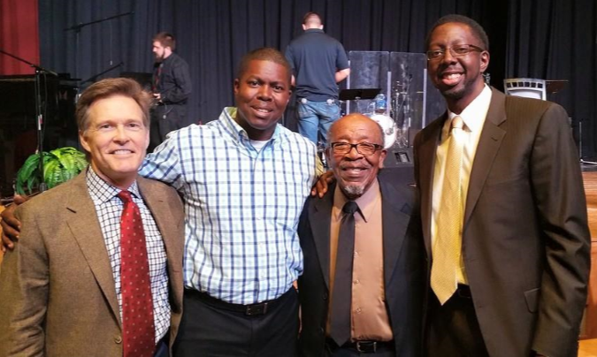 Clarence Hill Jr is pictured on the right with respected community transformation leader, Dr. John F. Perkins, Jonathan Hill (Pastor of Church Ablaze), and Wes Lane (President of  SALLT - Salt and Light Leadership Training ) following the first annual  Citywide Unity Service  on the campus of  Southern Nazarene University .