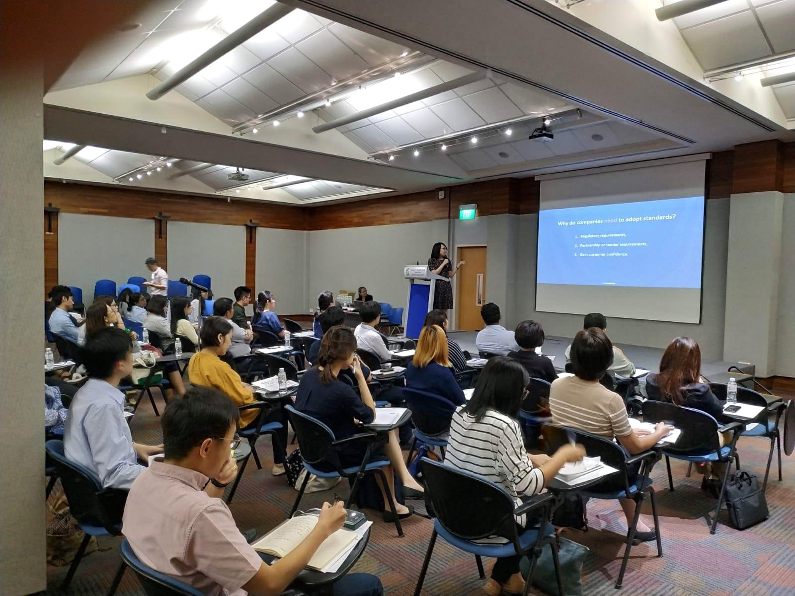 "Ms Tan Su Min, Director of Client Success at Stendard, speaking at the ""Standards Adoption Workshop on SS ISO 13485 : 2016 - Medical Devices QMS - Requirements for regulatory purposes"",  6 March 2019"
