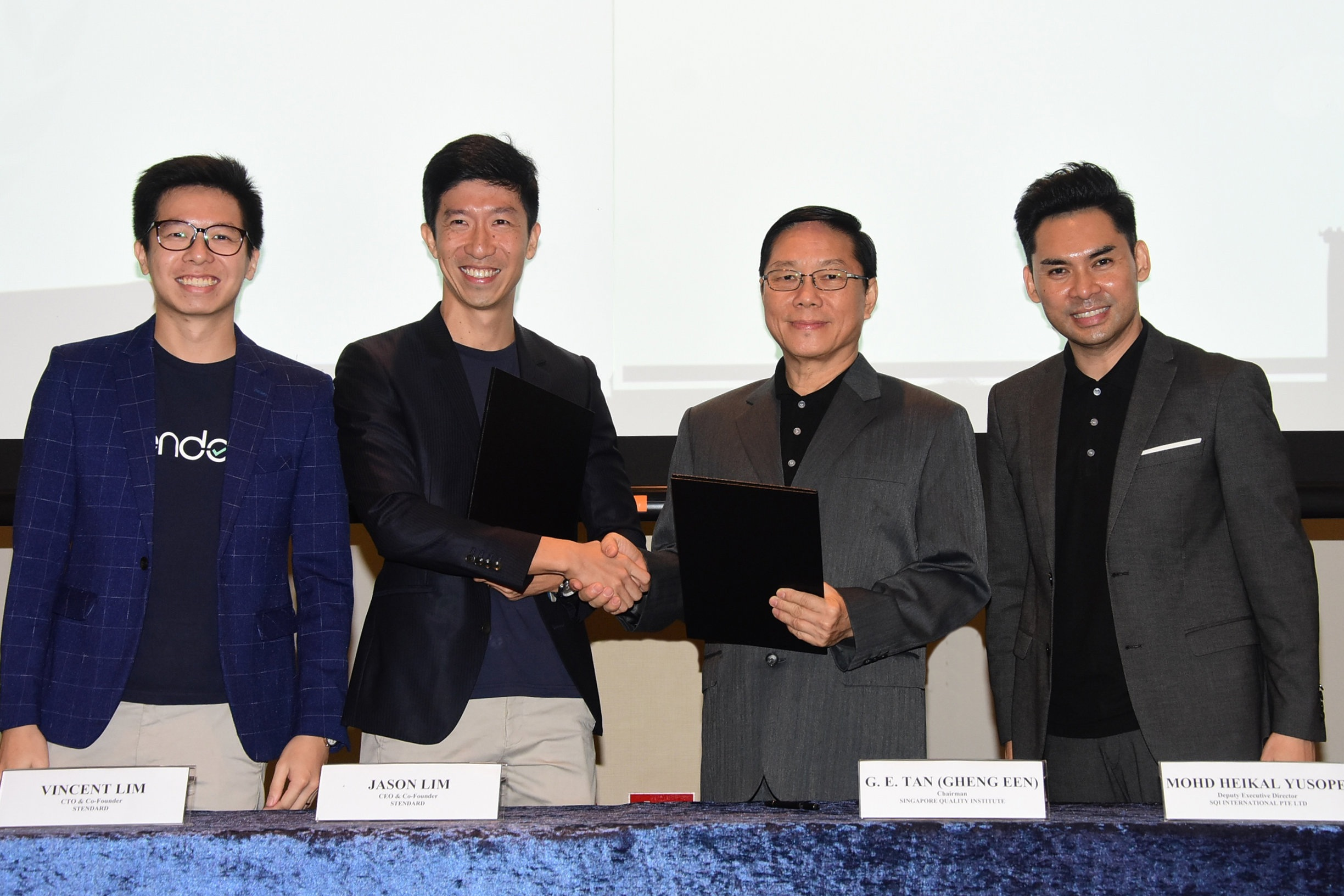 Left to right: Vincent Lim (CTO & Co-founder, Stendard), Jason Lim (CEO & Co-founder, Stendard), G.E. Tan (Chairman, SQI), Heikal Yusope (Deputy Executive Director, SQI)