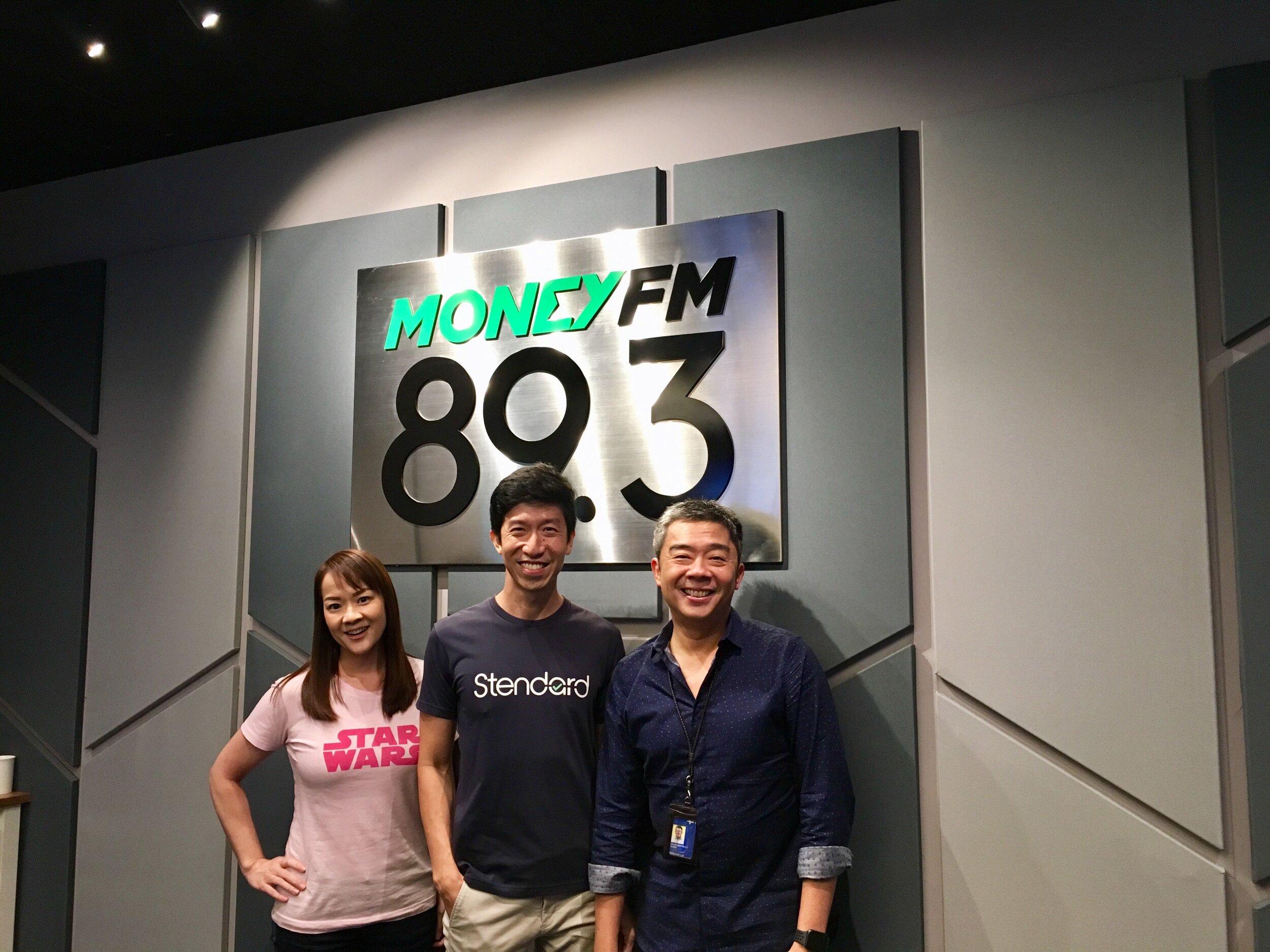 At the MoneyFM 89.3 studio (from left): Howie, Jason, Bernard