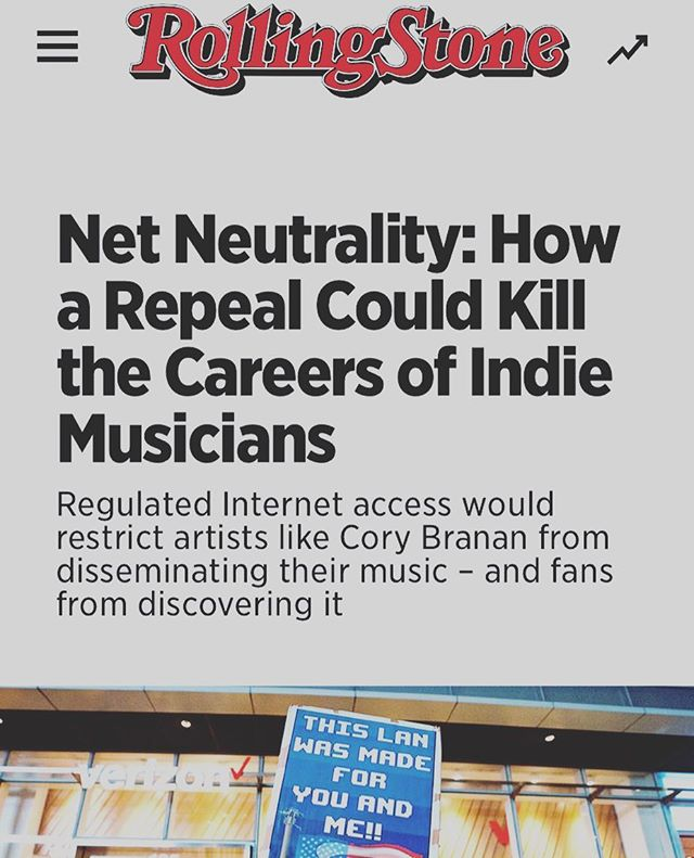 Down to the wire y'all - please call your reps. Thanks @rollingstone for letting me ramble (link, with how to help, in bio)  #netneutrality #dec14th #independentartist #workingforaliving