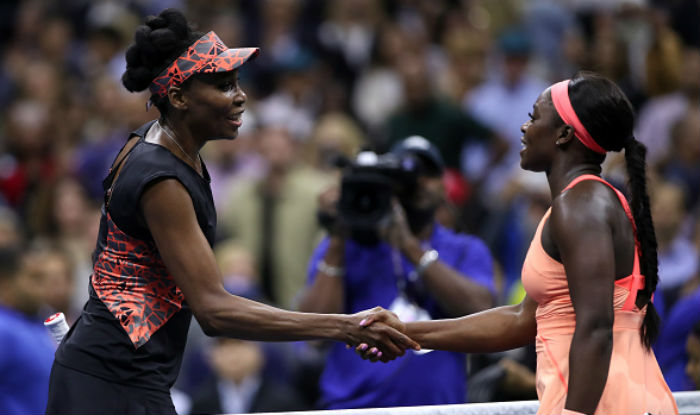 Venus(l.) and Sloane(r.) duked it out like two prizefighters for what seemed like an eternity in the third set of their matchup, with Stephens eventually besting Williams in the end to win the match.