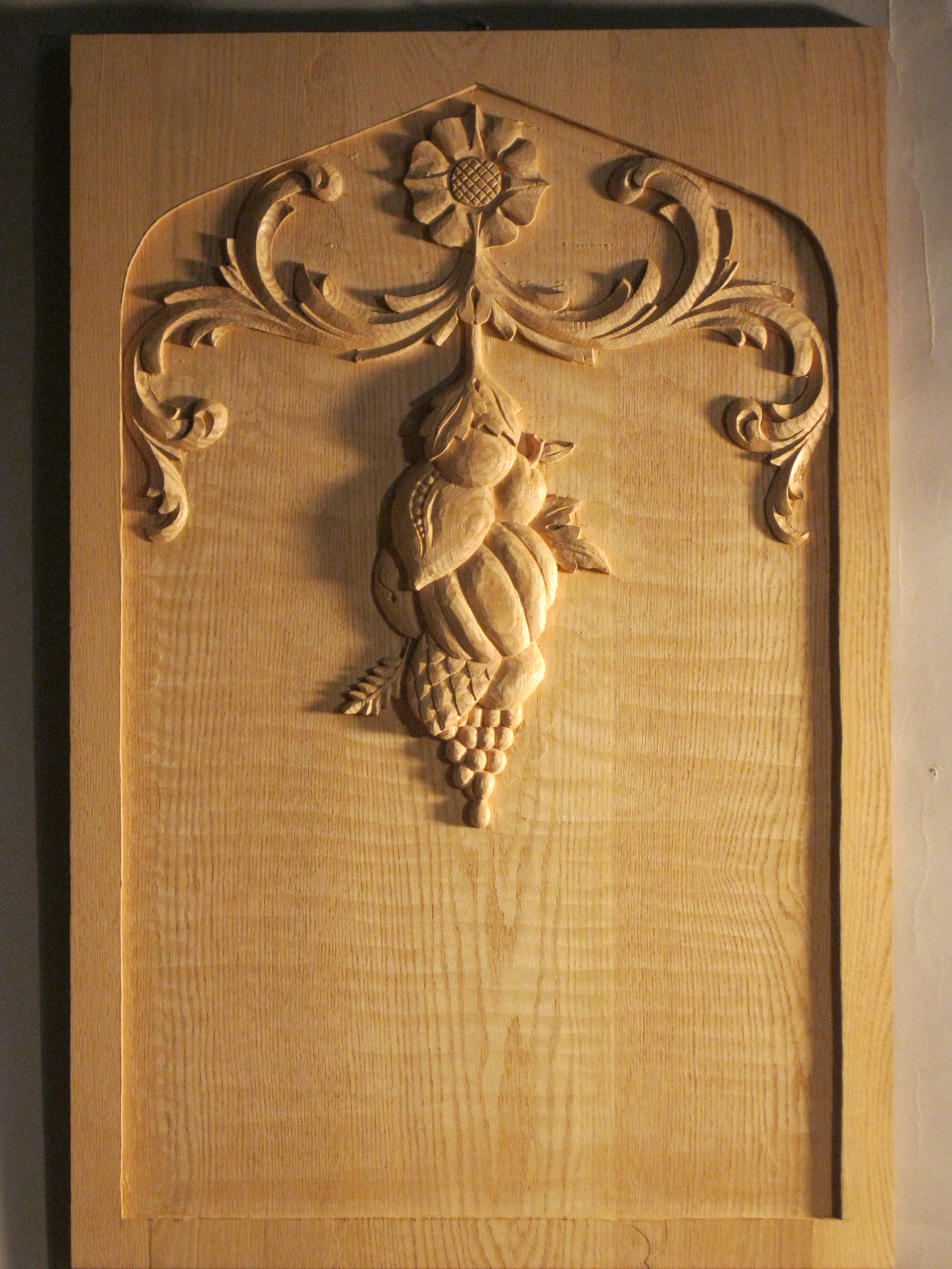 The finished, carved door for a pantry