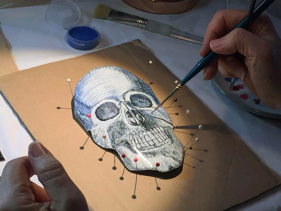 Watercolor Enamel on Steel Skull by Tammi Sloan of My Brown Wren