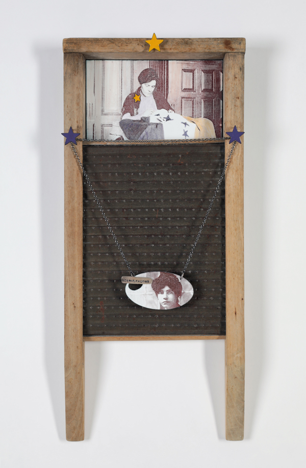 Celebrating Women's Suffrage - Vintage washboard with enameled panel and enameled pendant of Alice Paul (photographic images courtesy of The Library of Congress).