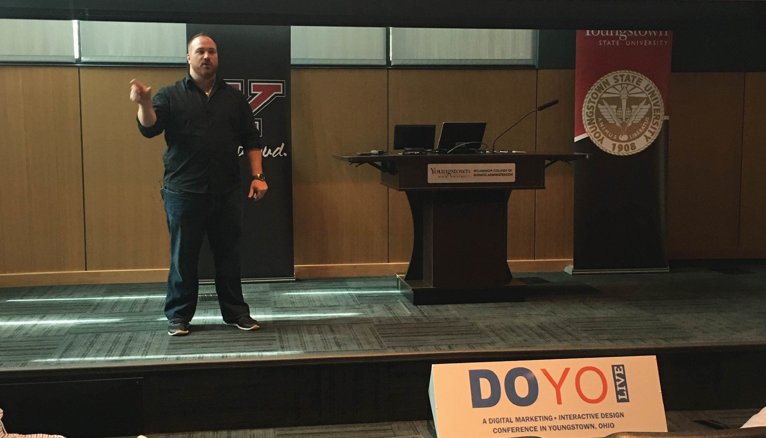 Ross Morrone talks social media analytics during the first breakout session at DOYO Live.
