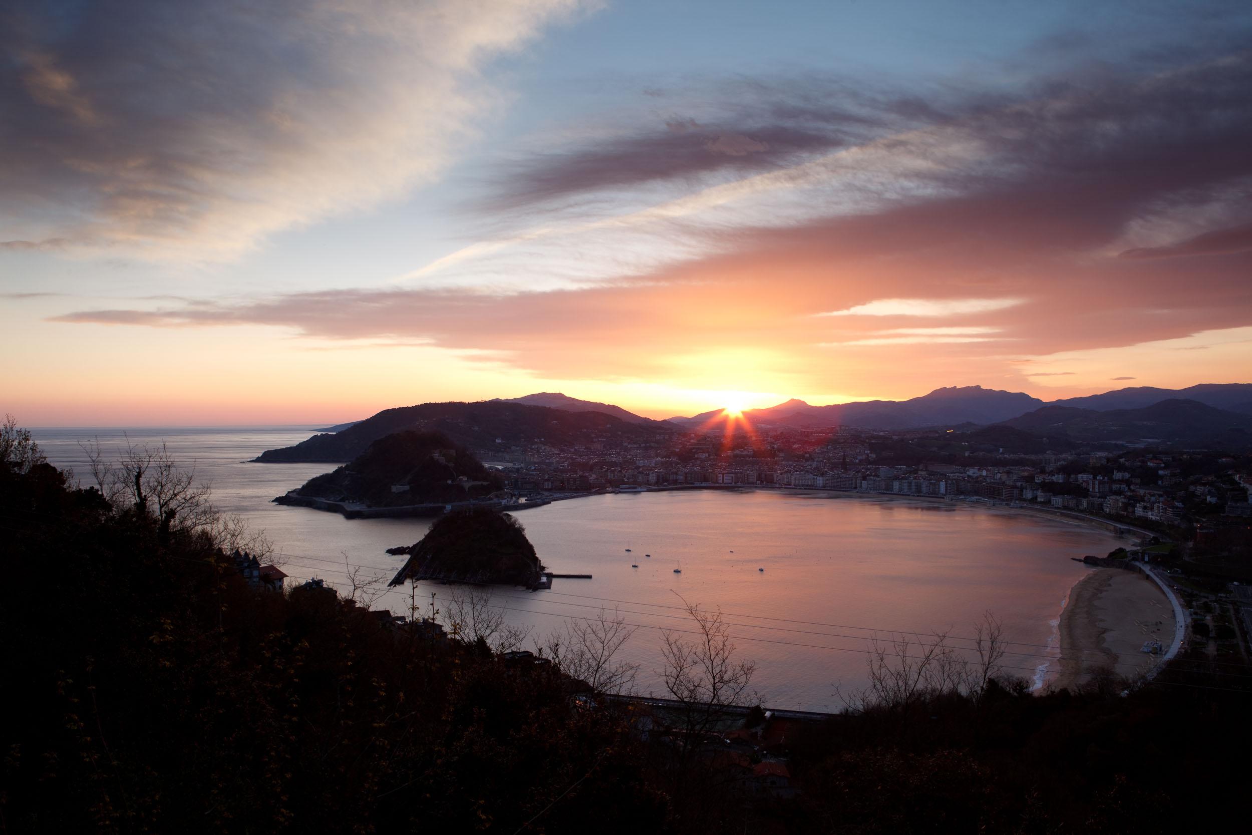 La Concha Bay and San Sebastián at dawn,  San Sebastián, Spain.