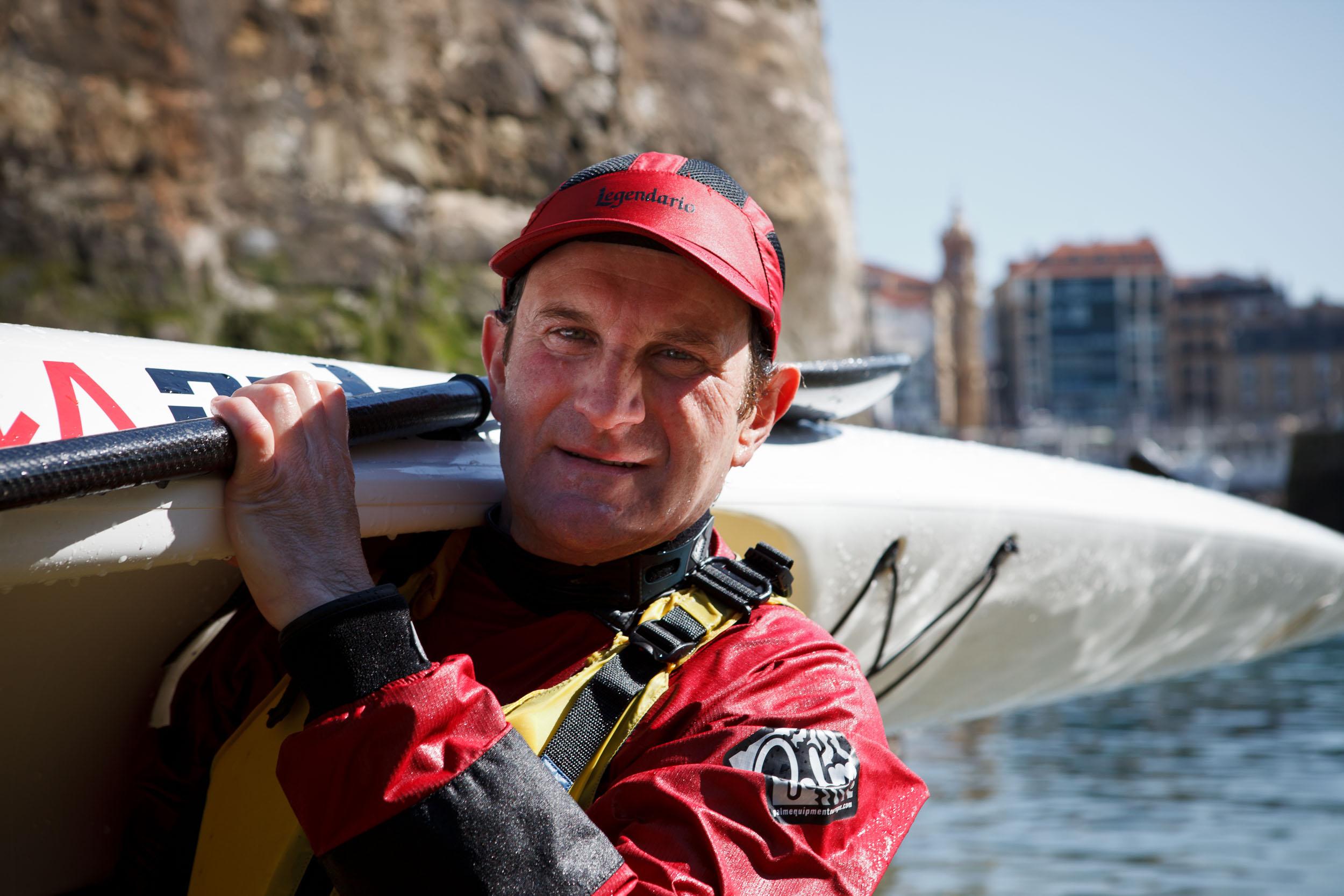 Felix, a canoeist after arriving in port,  San Sebastián, Spain.