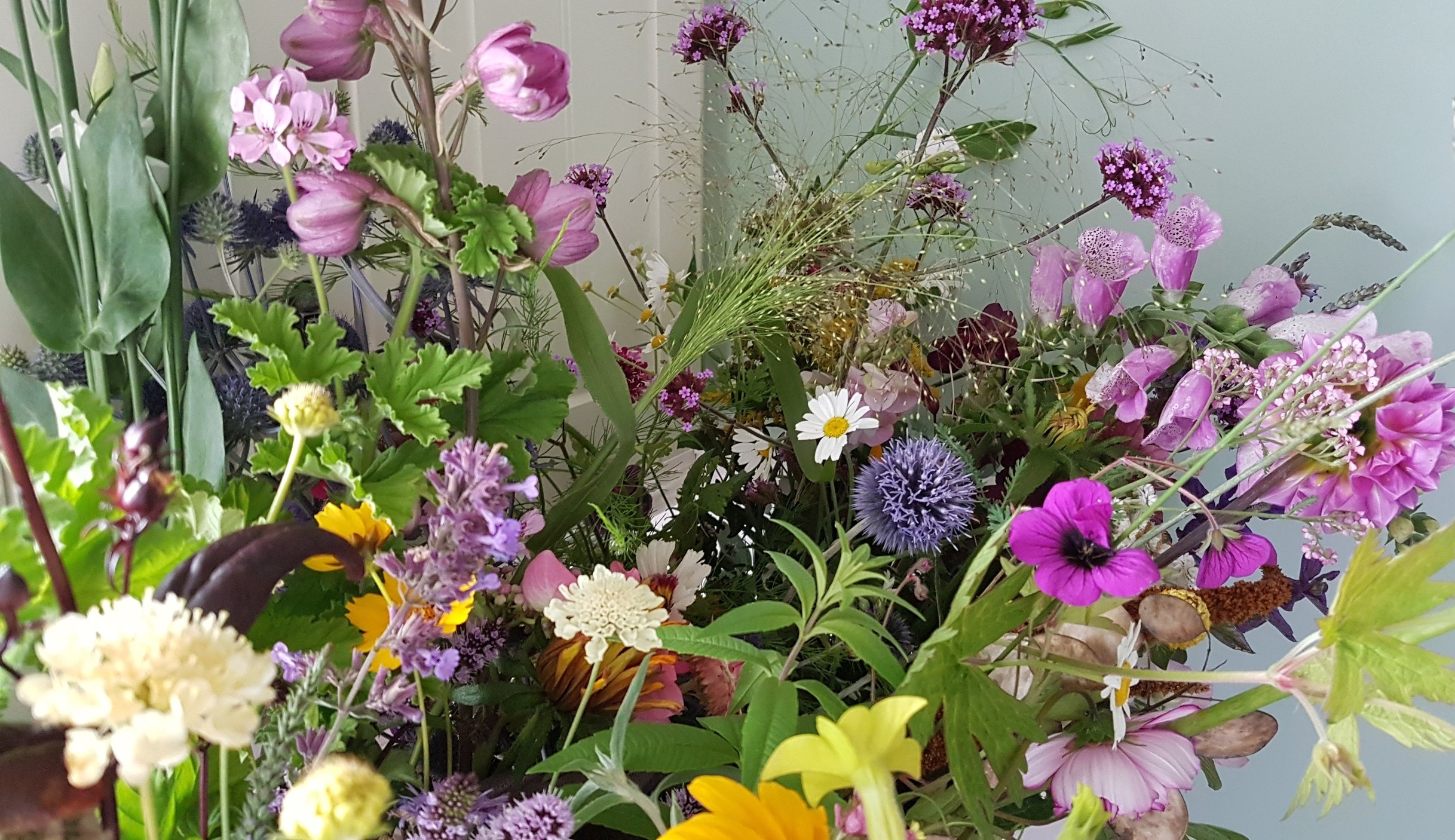 August flowers - scabious, delphinium, lavender, verbena, scented geranium, frosted explosion grass, to name but a few!