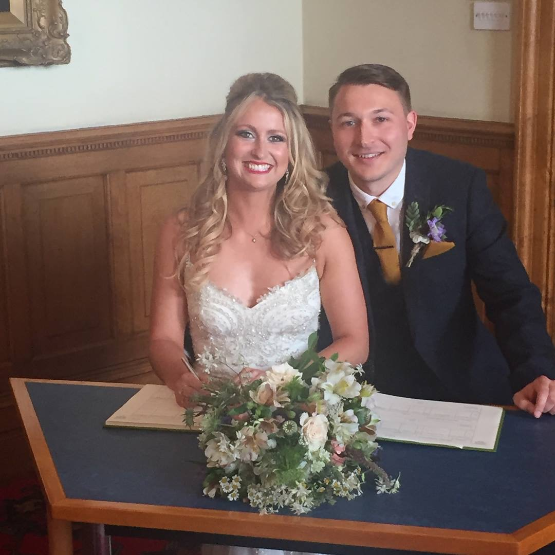 Lucy and Freddie were married in July 2017. We supplied the bride's bouquet, wrist corsages for the bridesmaids and buttonholes for the groom and his party. We also supplied buckets of flowers for the family and friends to decorate their venue themselves. This is a popular service to choose.