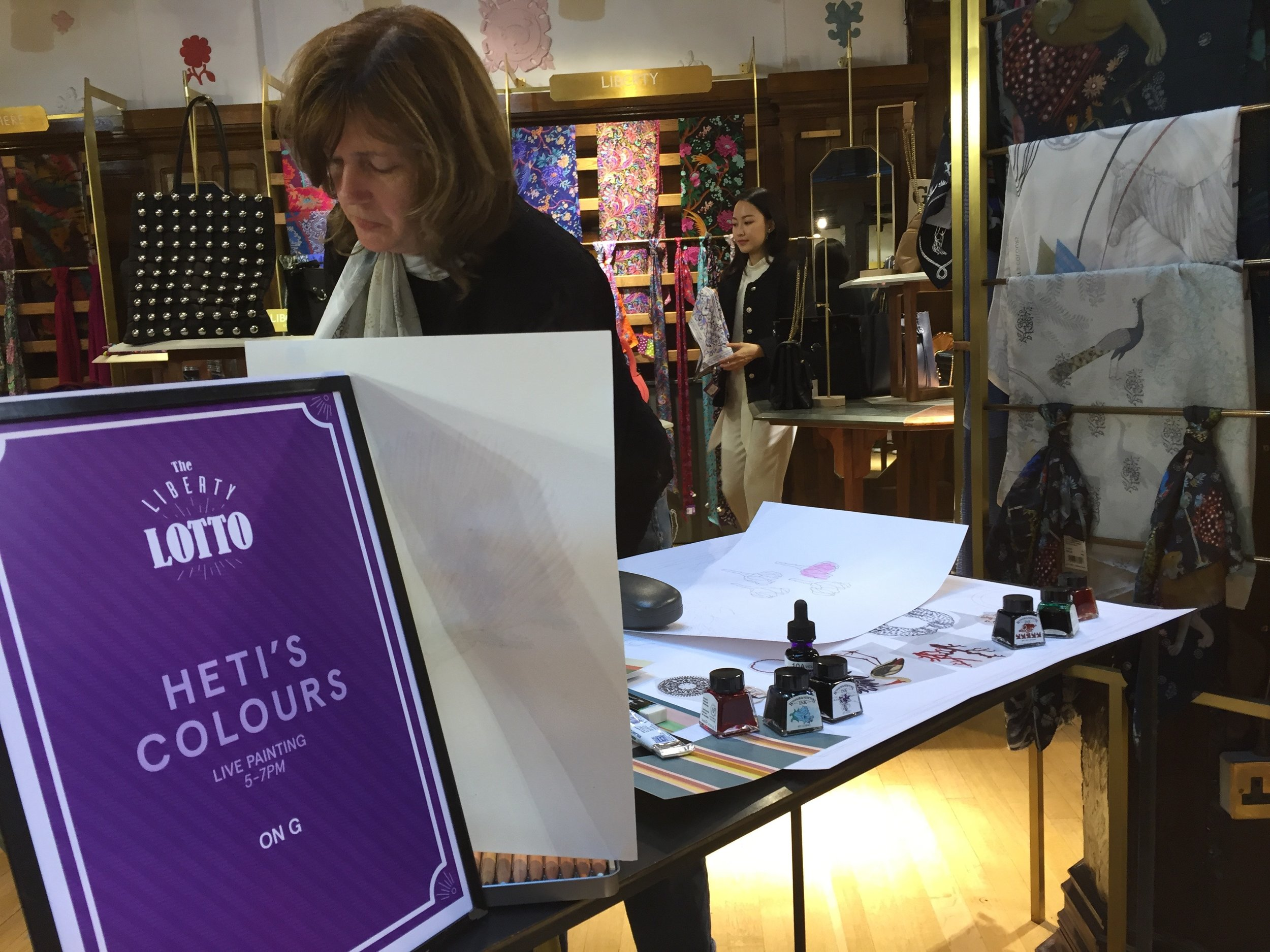 Liberty London Loyalty Night with Guest of Honour Heti Gervis, founder of Heti's Colours - Live Painting