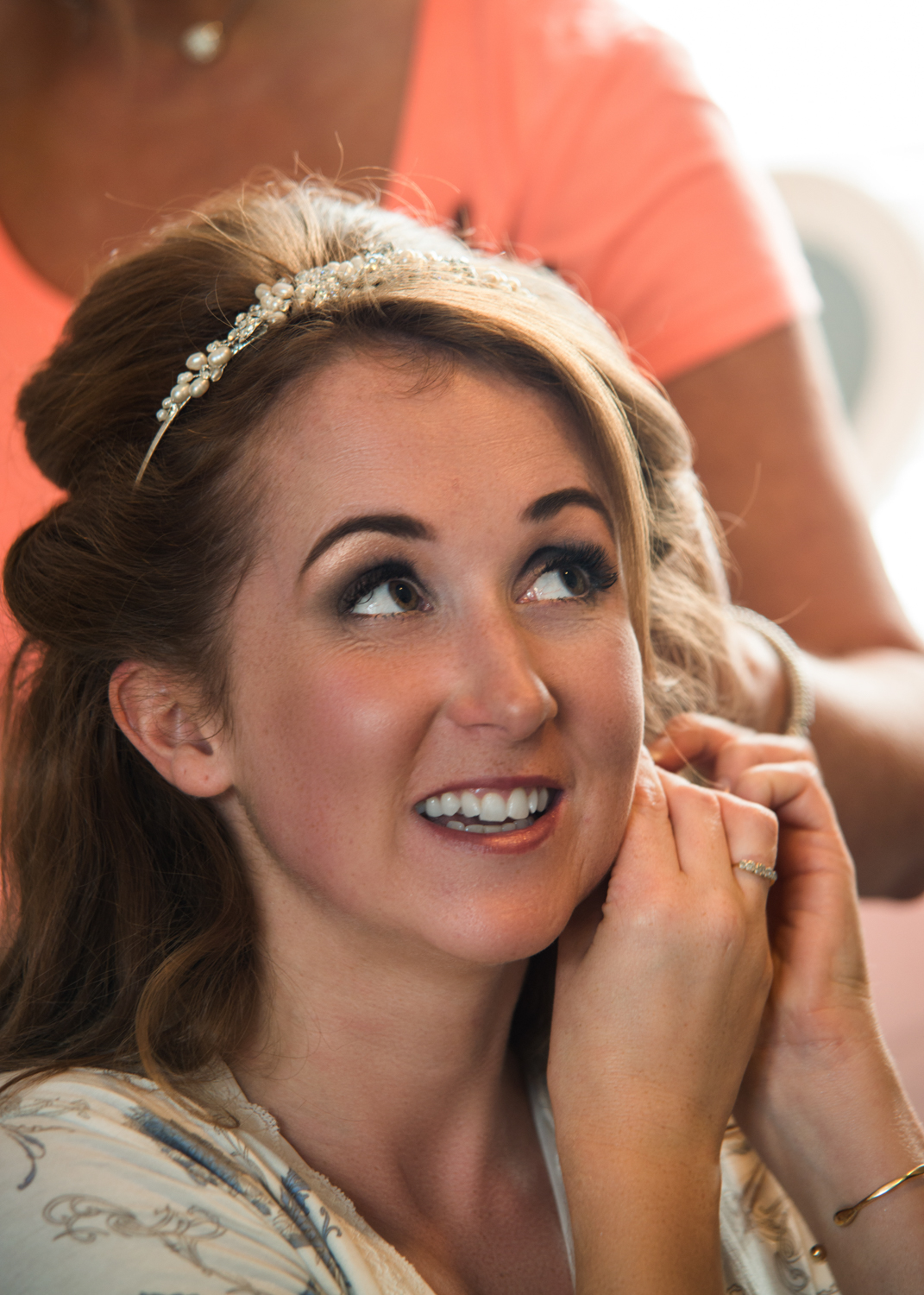 A beautiful bride getting ready