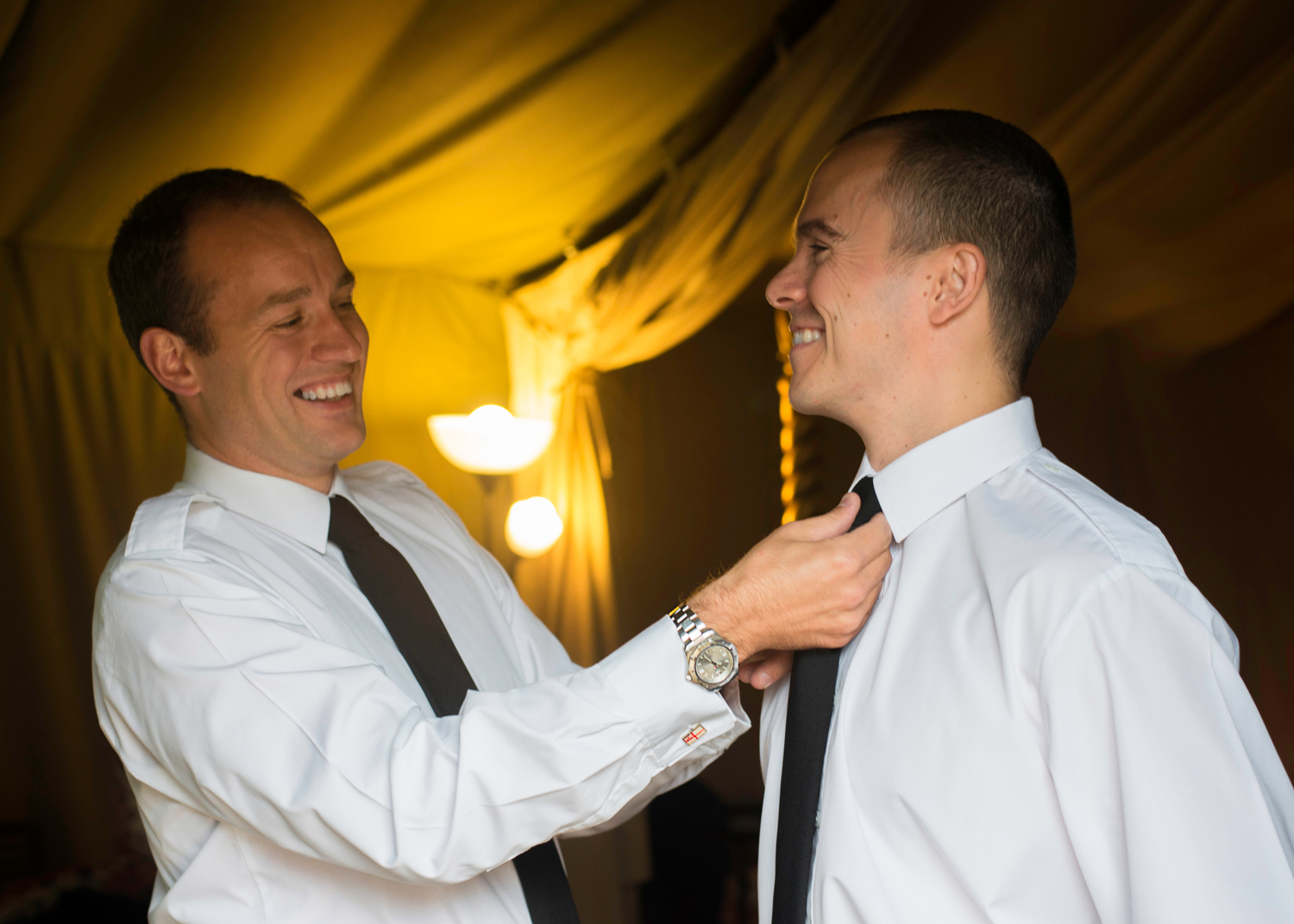 Best man helping the Groom prepare |Pentre Mawr