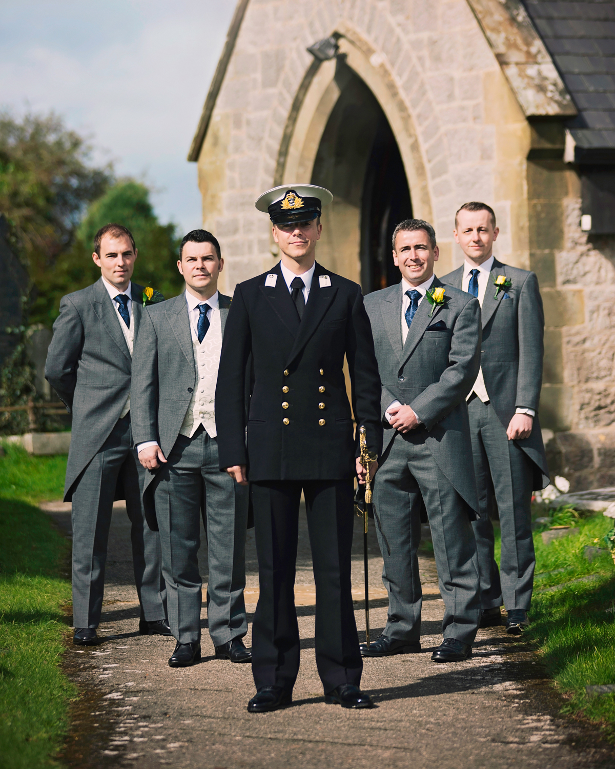 Groom and groomsmen wedding day | St Cynfran Church