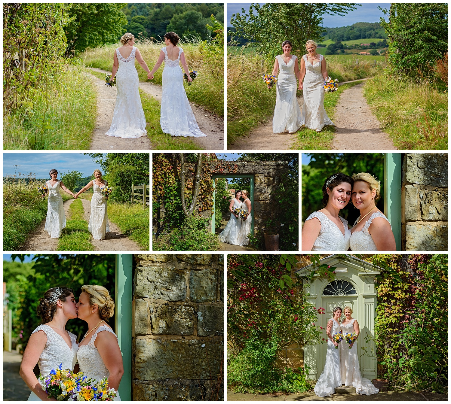brides walking hand in hand | yorkshire photographer
