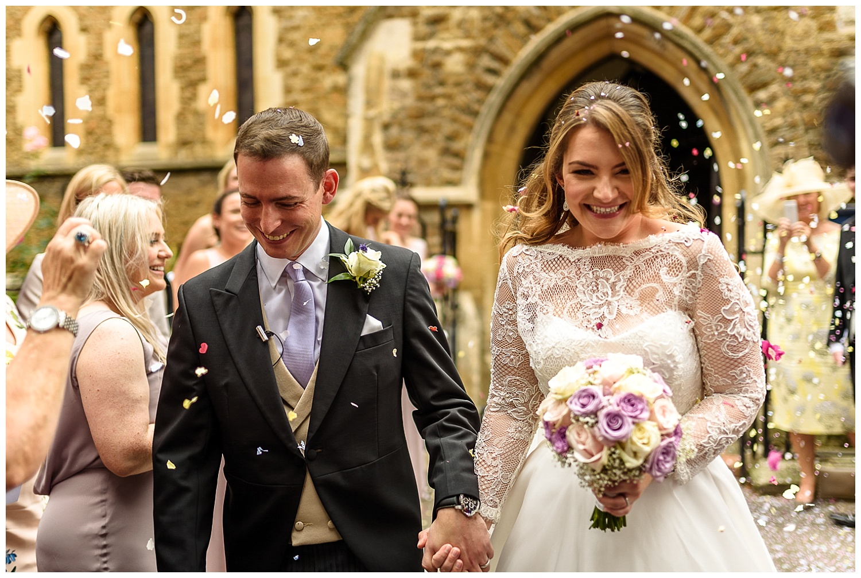 Confetti exit | London wedding | Christ Church Sheen | Alex Buckland Photography