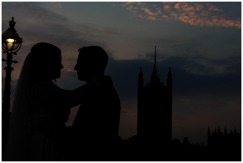 Bride and Groom | Beautiful London Skys | Surrey and London Wedding Photographer