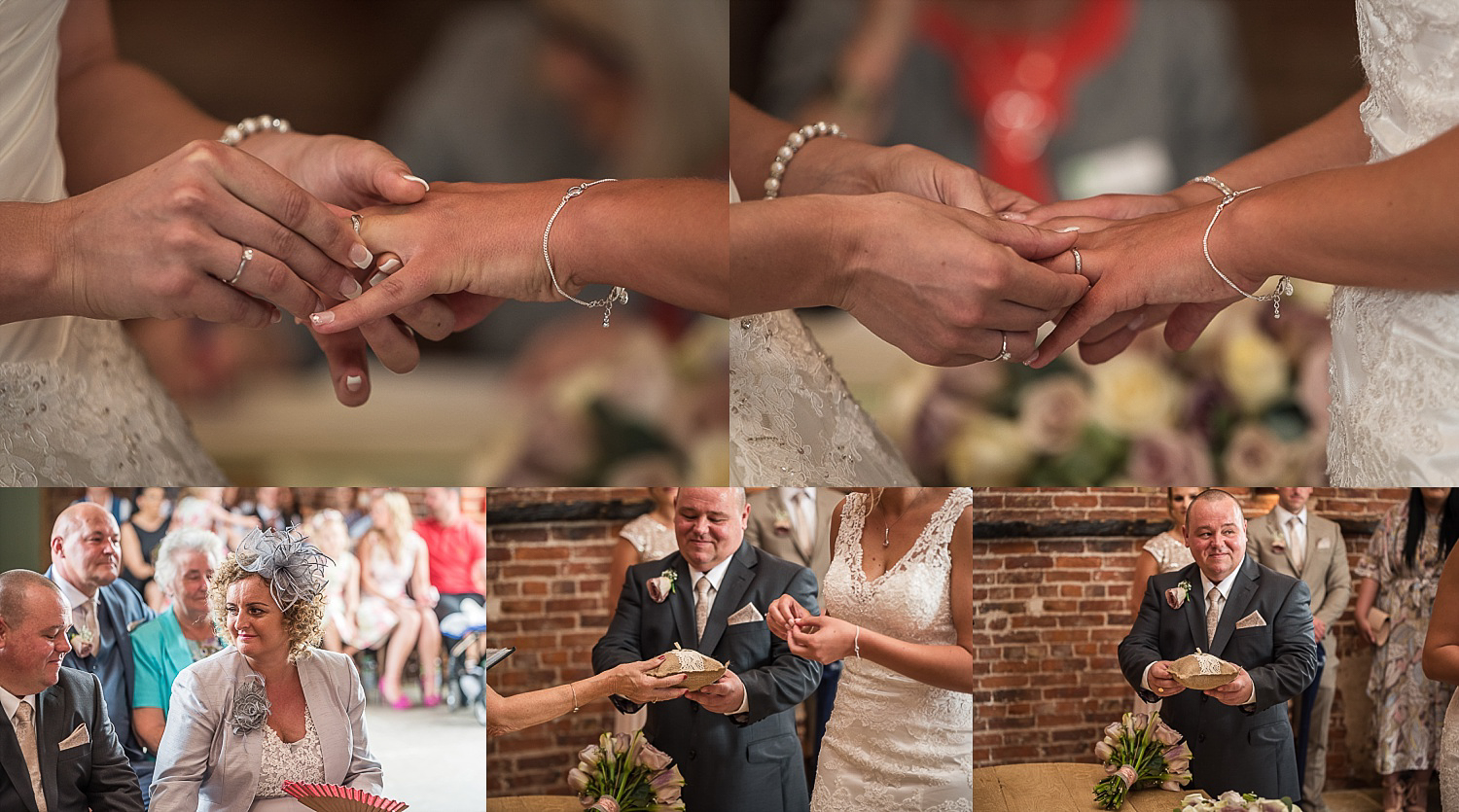 brides exchanging rings during ceremony