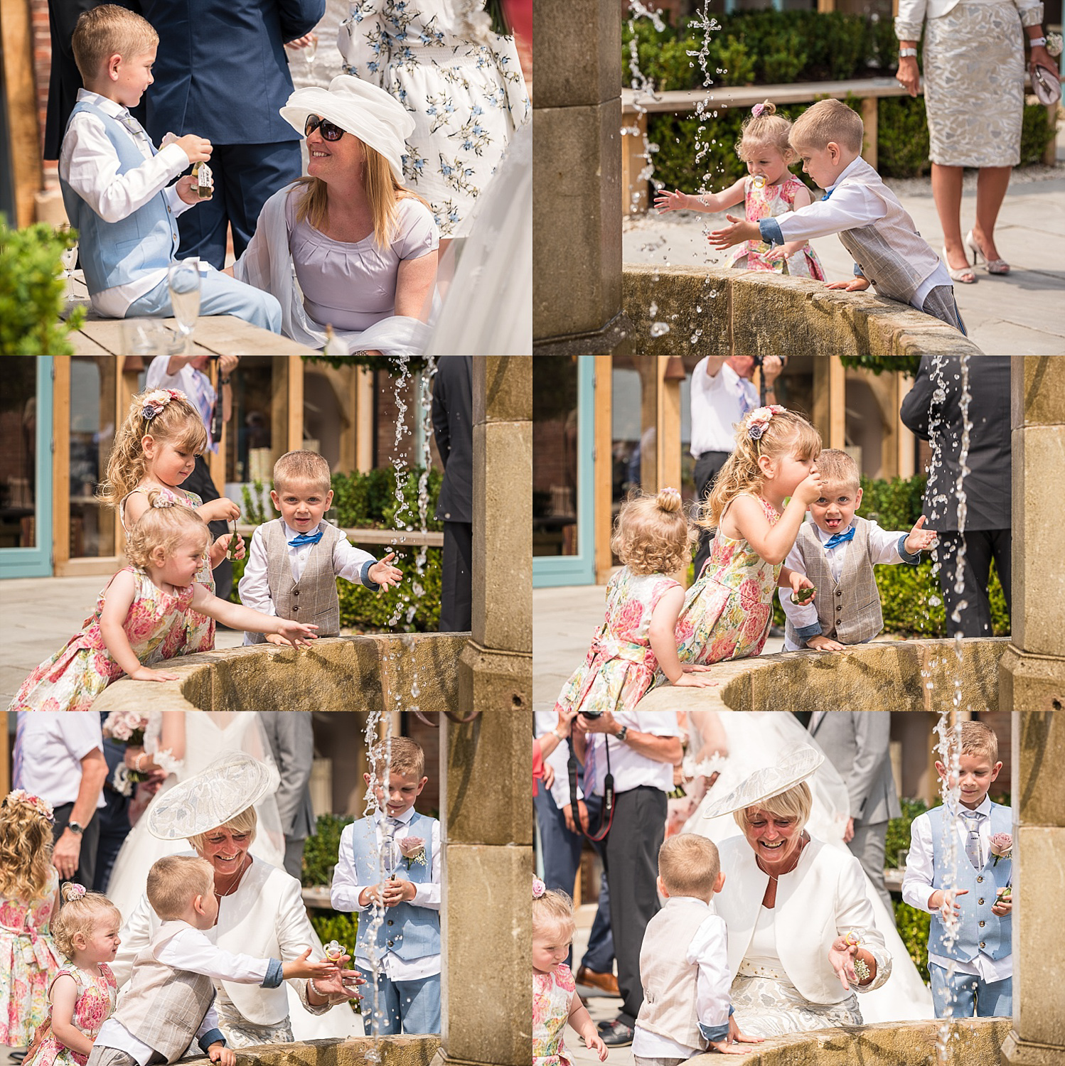 children playing with fountain barn courtyard wedding