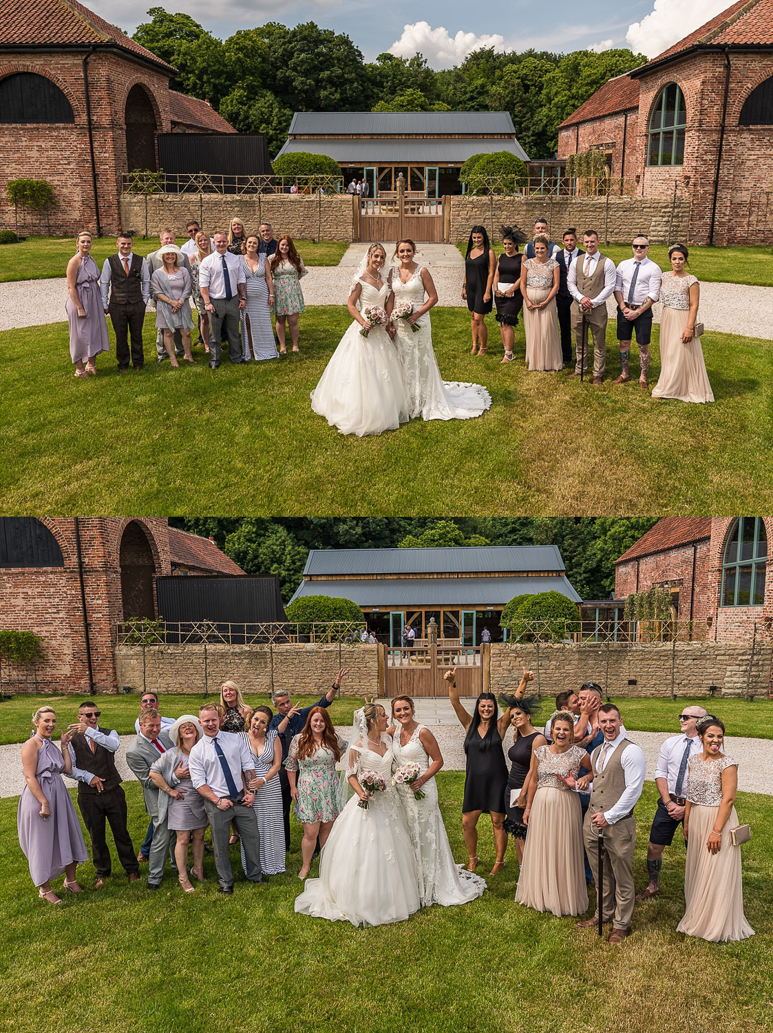 Fun lesbian wedding group photos
