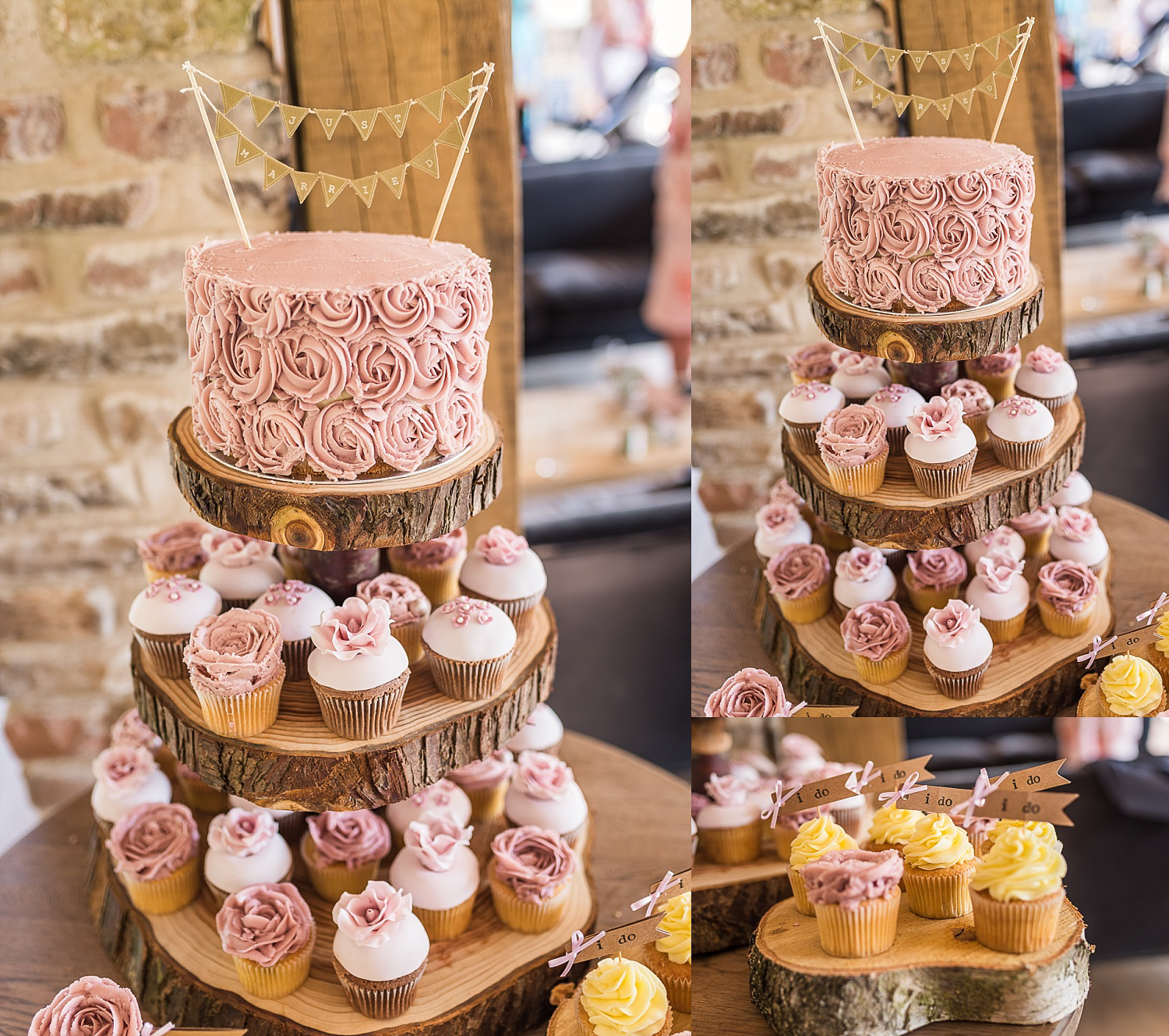 pastel coloured wedding cake with cup cakes