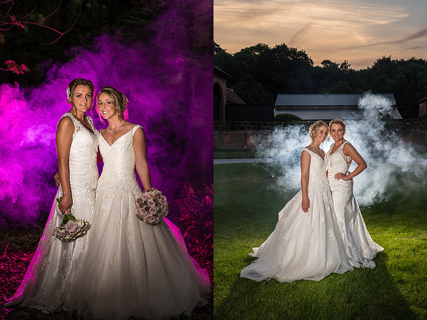 Brides pose for dramatic wedding portrait