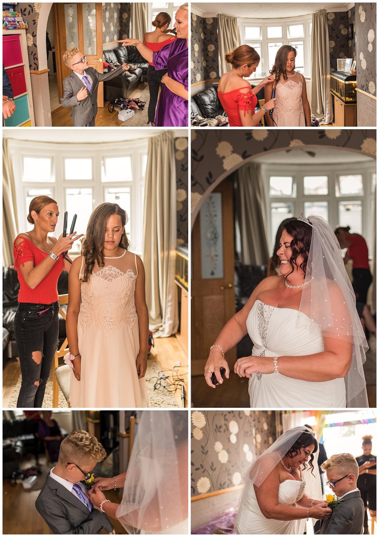 bride spraying perfume during bridal prep