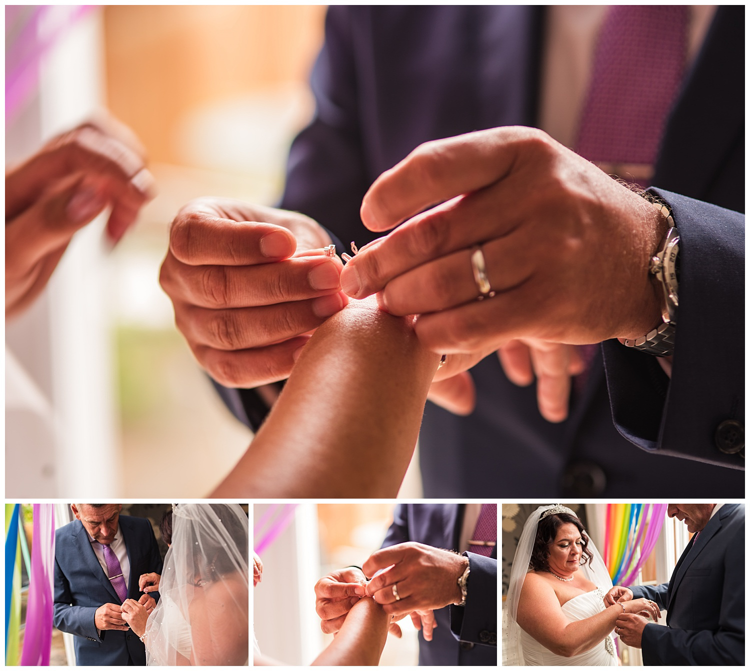 brother helping bride get ready