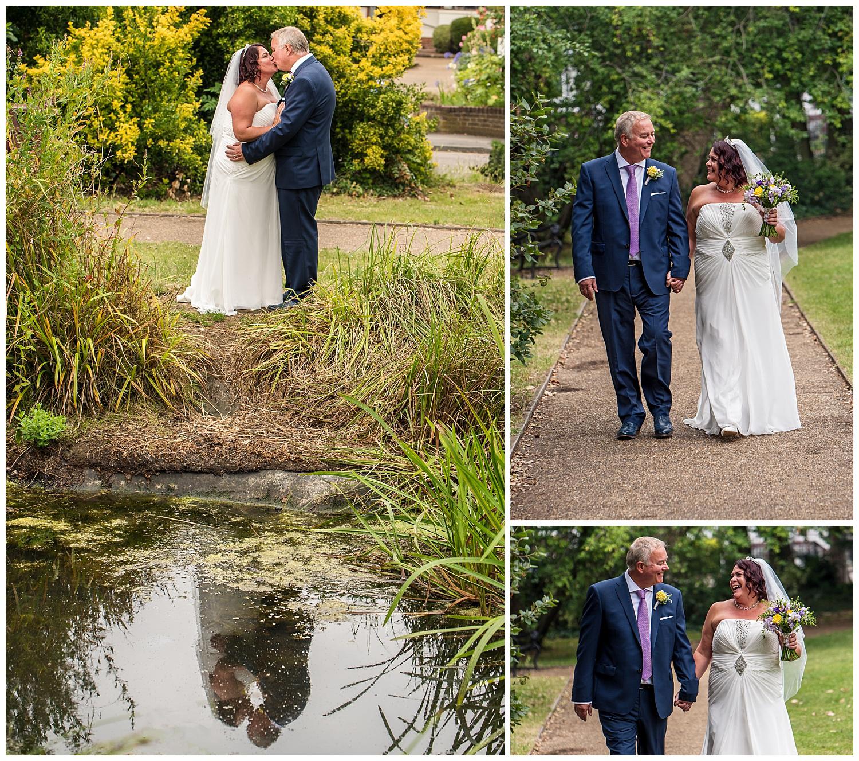 Bride and Groom walking Claremont gardens