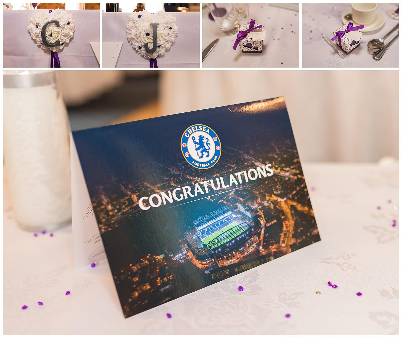 Congratulations card from Chelsea football club wedding