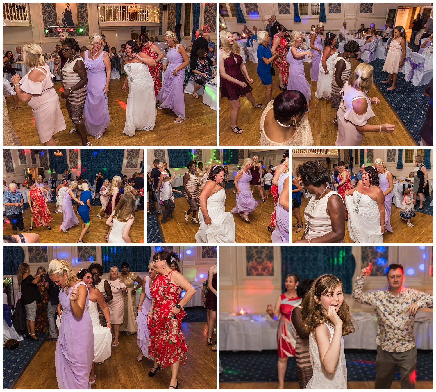 bride and bridesmaids dancing the candy