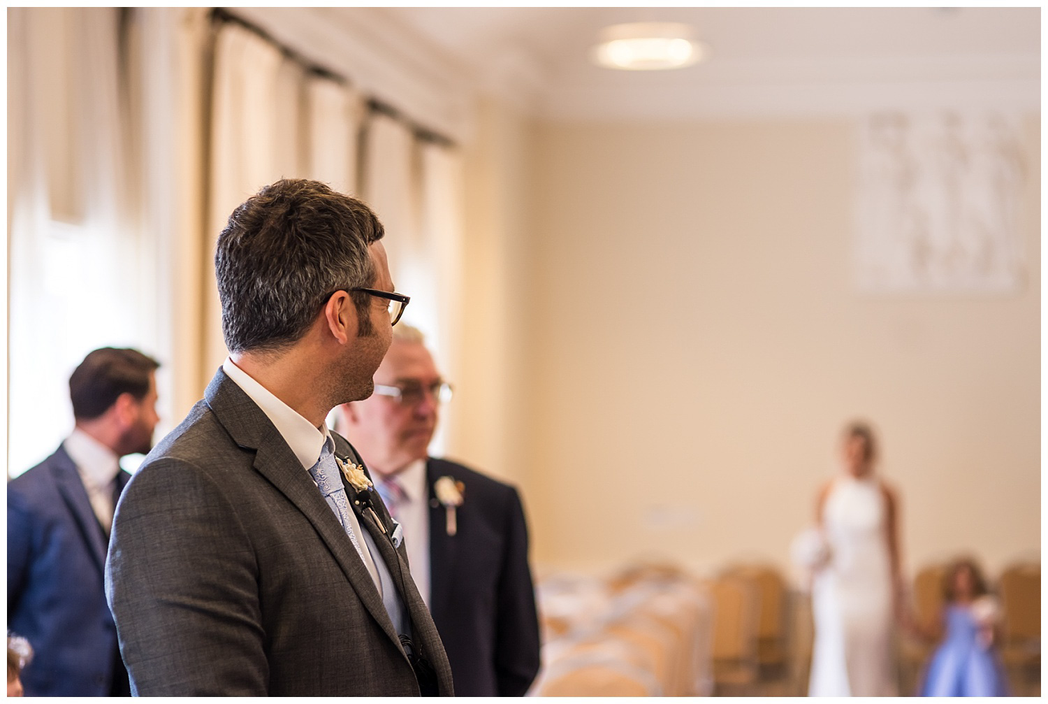 Groom waiting for bride | York House wedding ceremony
