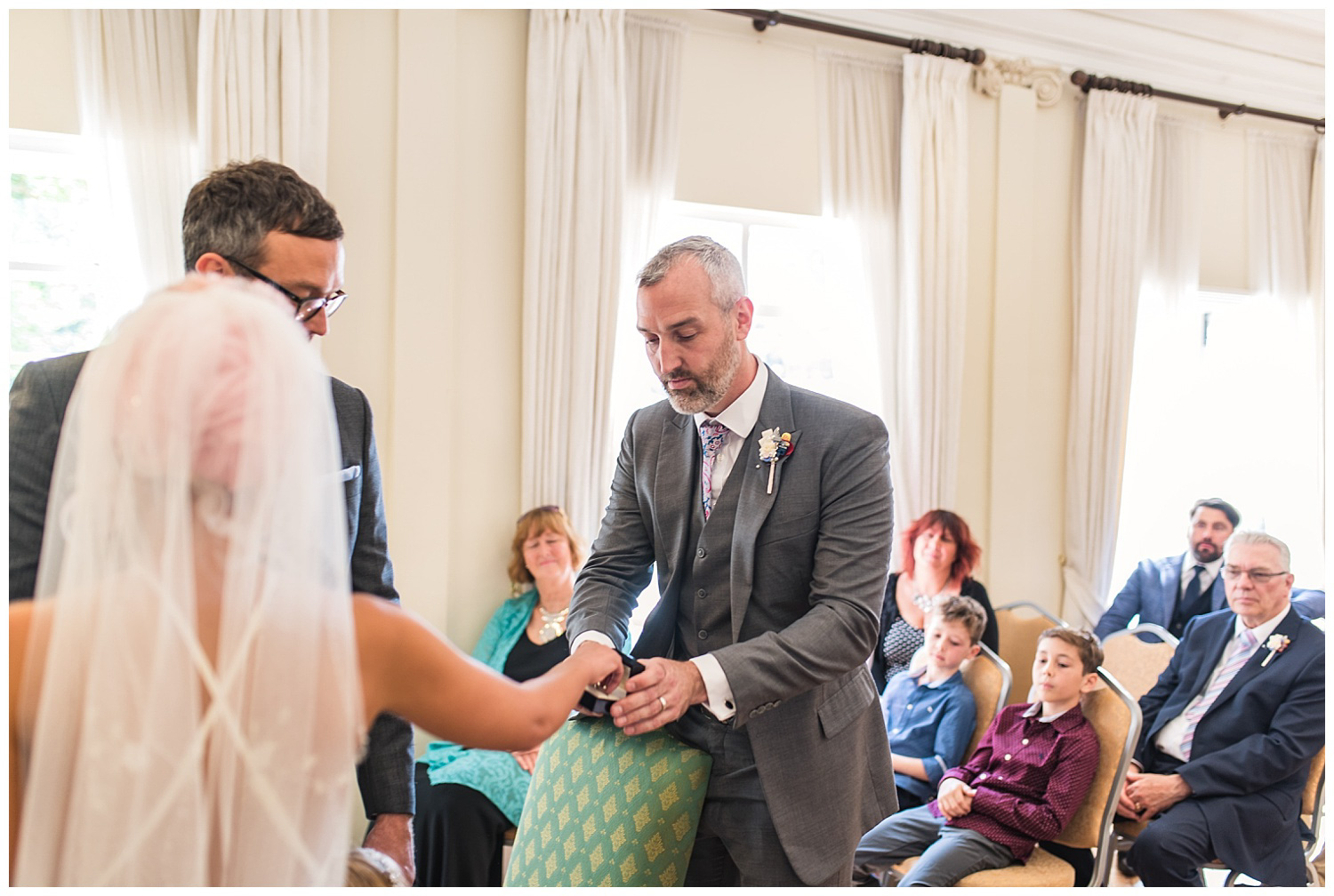 Bride and groom during wedding ceremony at York House Richmond