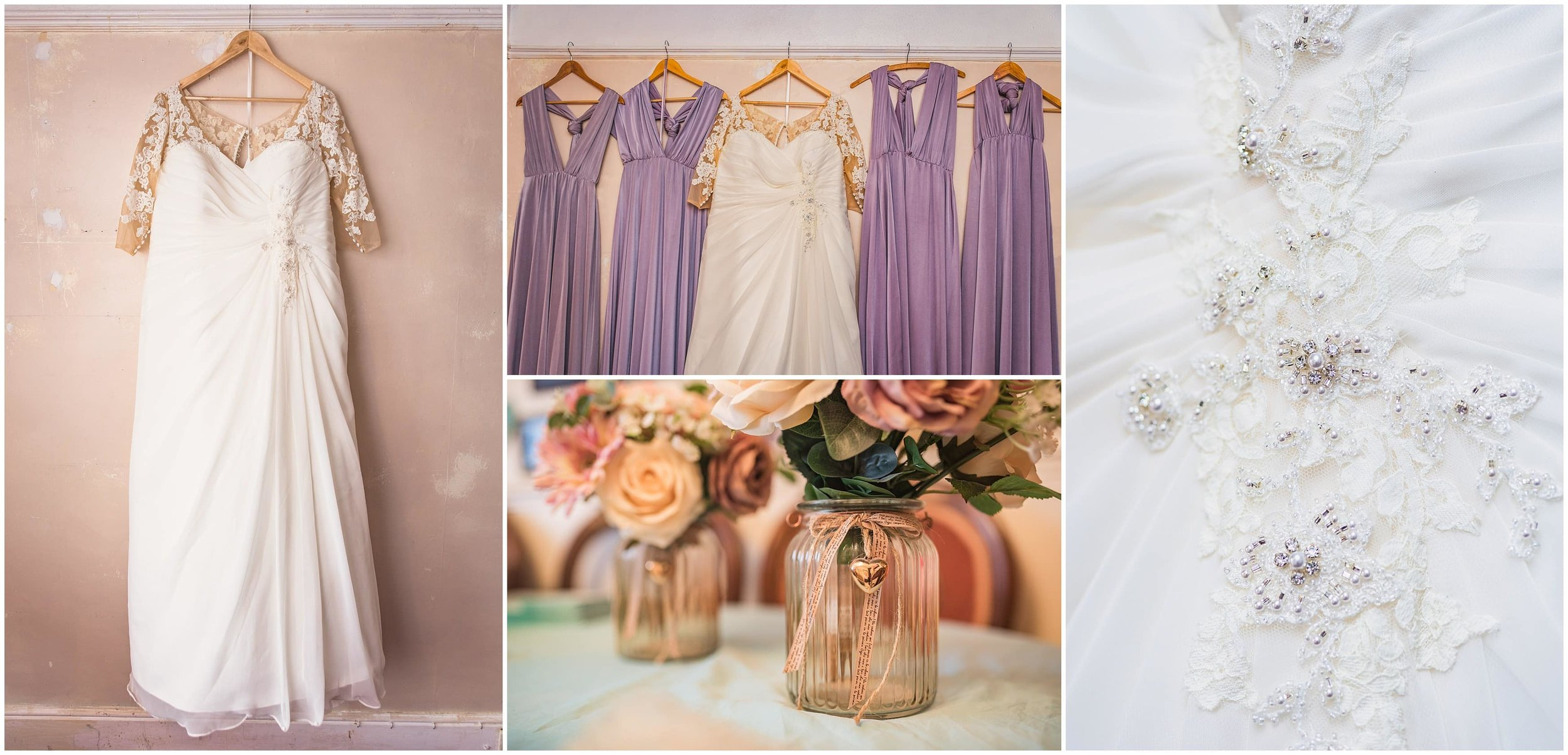 Brides dress and details at a lovely autumn Surrey wedding