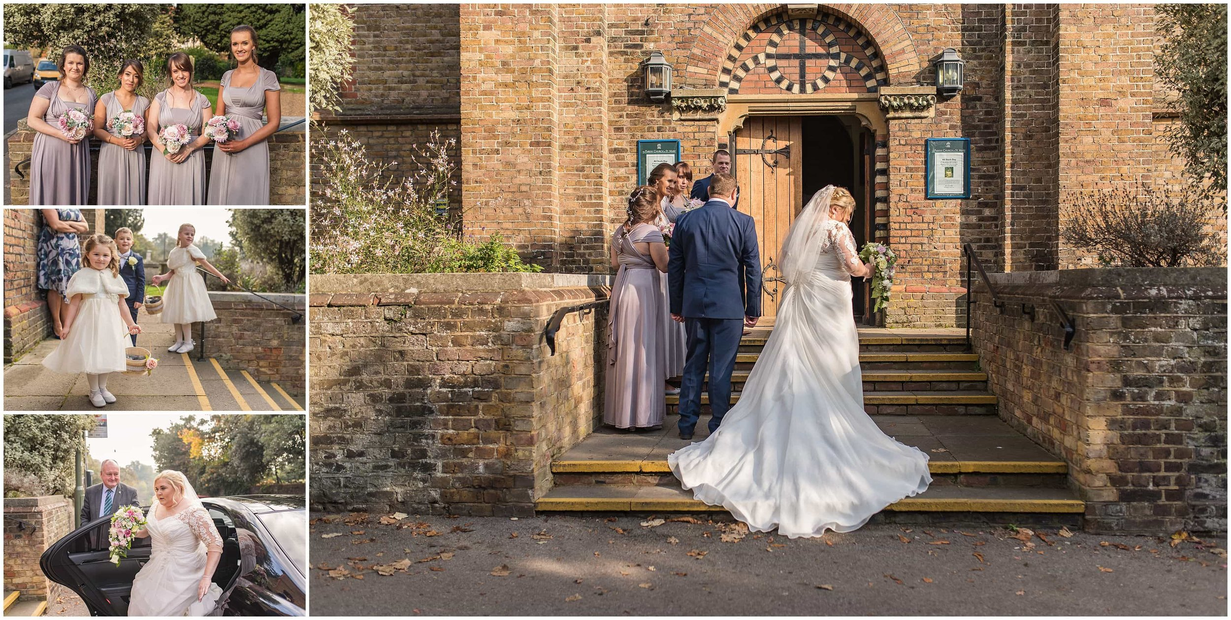 Bride and Bridesmaids arriving at St Mary's church in Sunbury for Autumn wedding ceremony