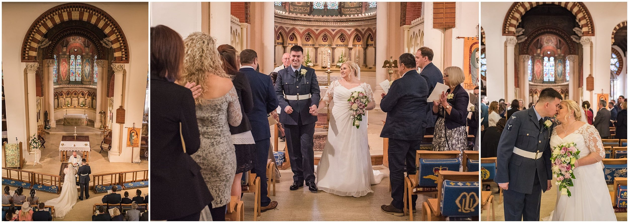 Newly weds walking down the aisle at St Marys Church in Sunbury Surrey