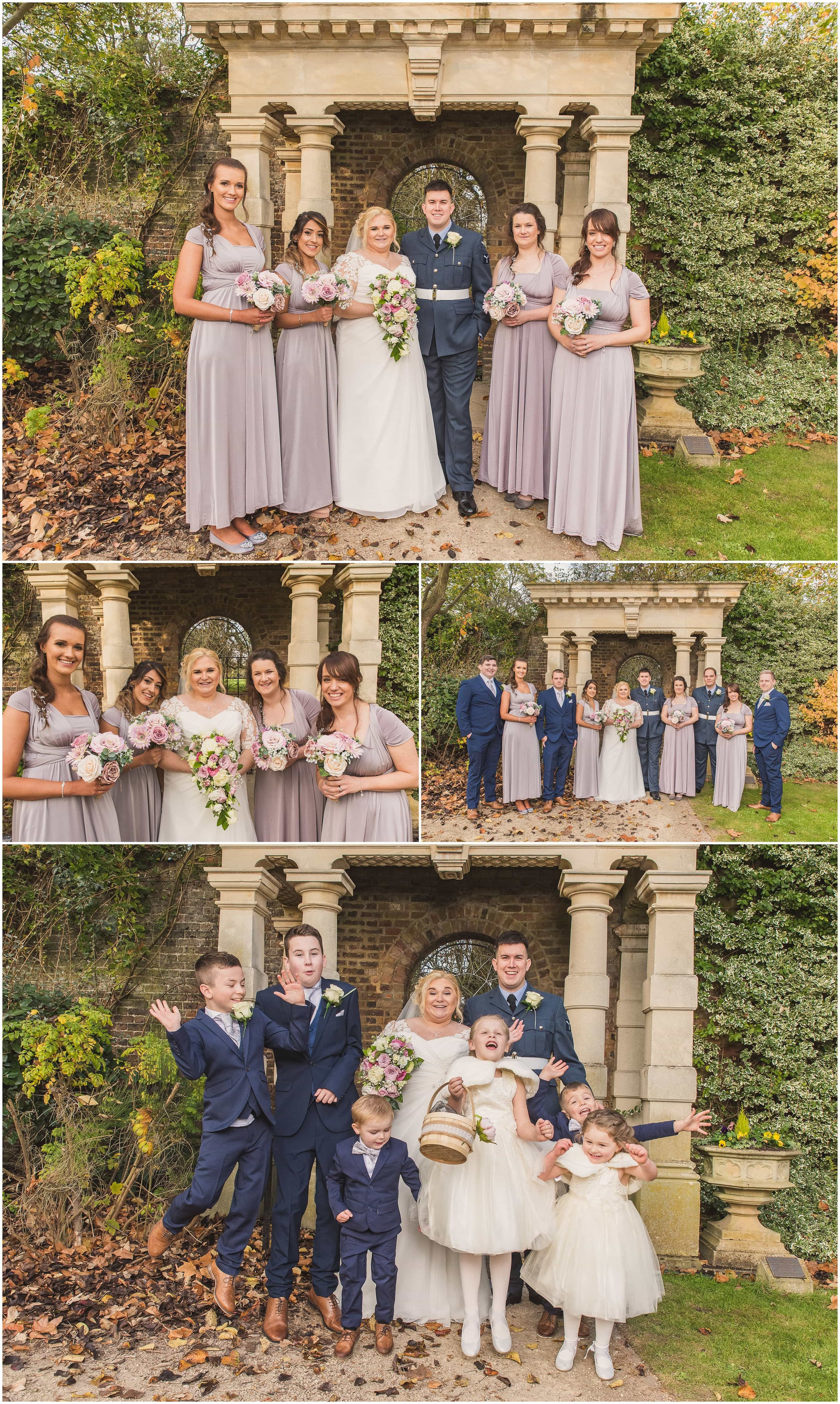 Wedding Group photos in beautiful Walled Gardens in Sunbury