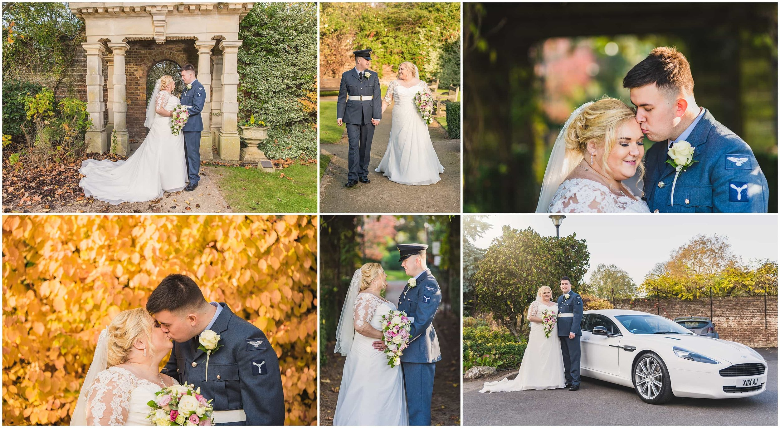 Bride and Groom Portraits in the idyllic Walled Gardens in Sunbury on Thames