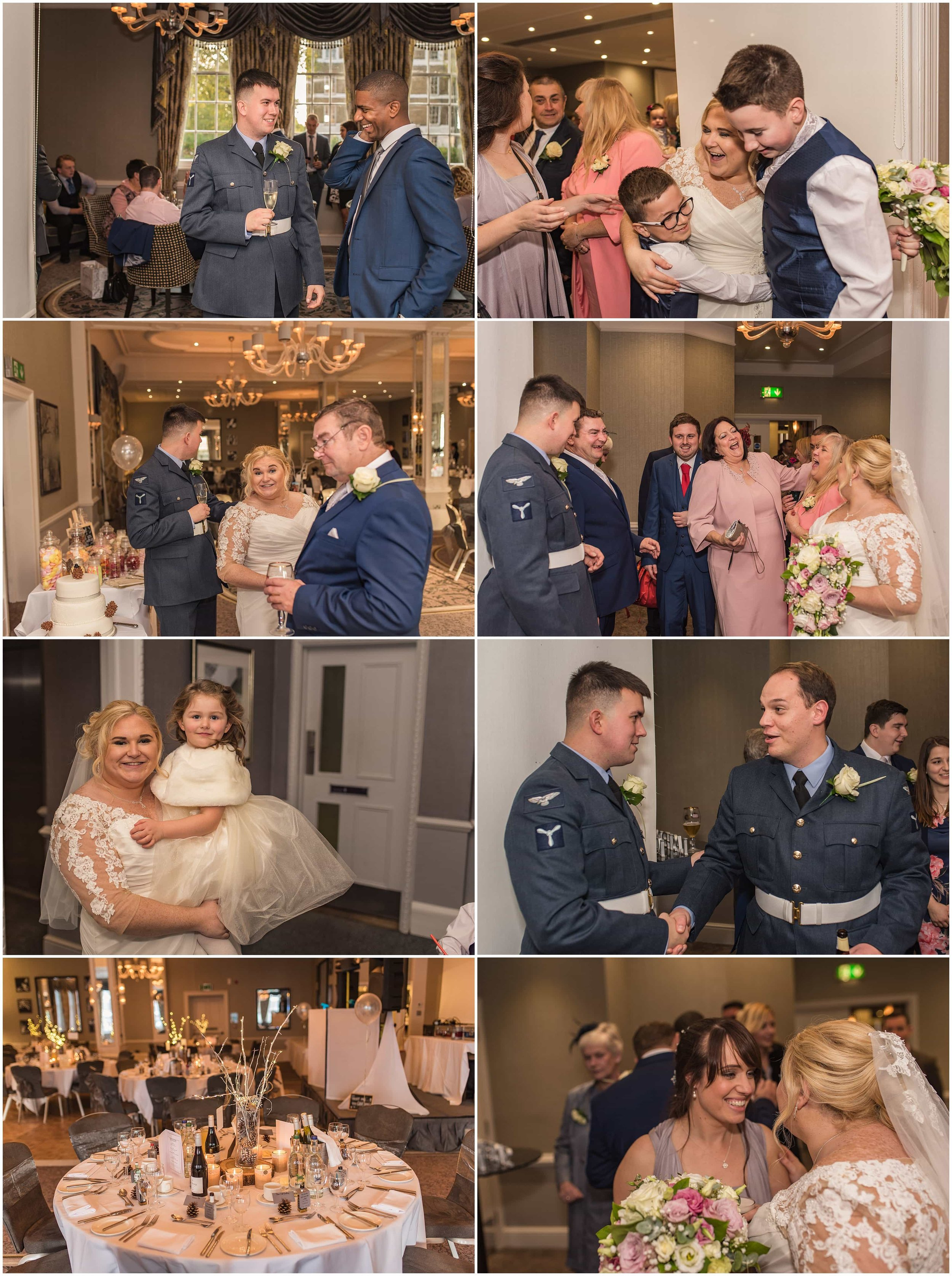 Reception line candid photos at Richmond Hill Hotel captured by Surrey wedding photographer