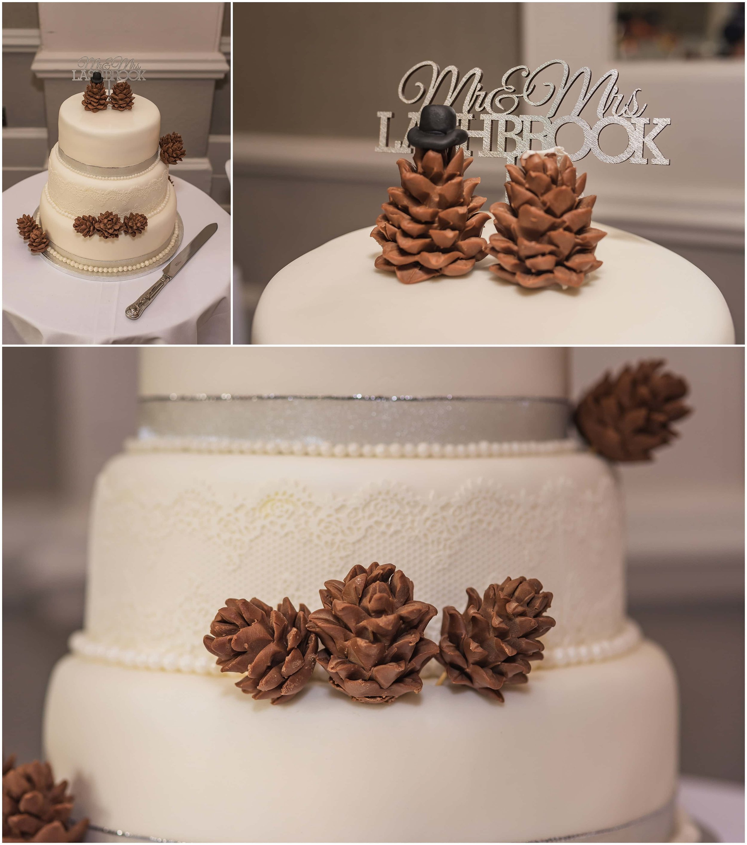 Pine cone themed wedding cake for autumn Surrey wedding